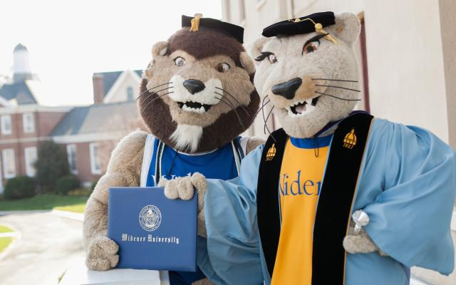 widener mascots in graduation garb holding diploma